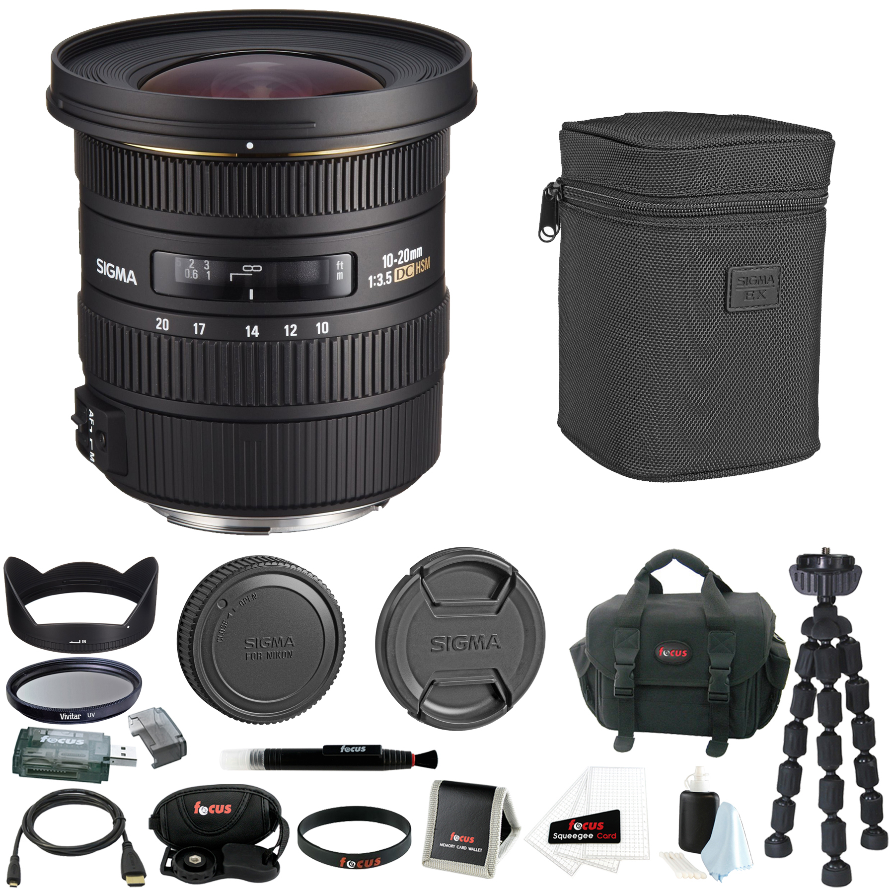 Sigma 10-20mm f/3.5 EX DC HSM Autofocus Zoom Lens For Nikon Camera Bundle