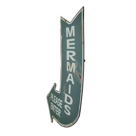 Mermaids Please Enter Vintage Finish Arrow Shaped Tin Wall Sign - image 2 de 3