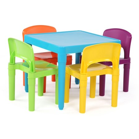 5pc Plastic Table & 4 Chairs Aqua - Humble Crew