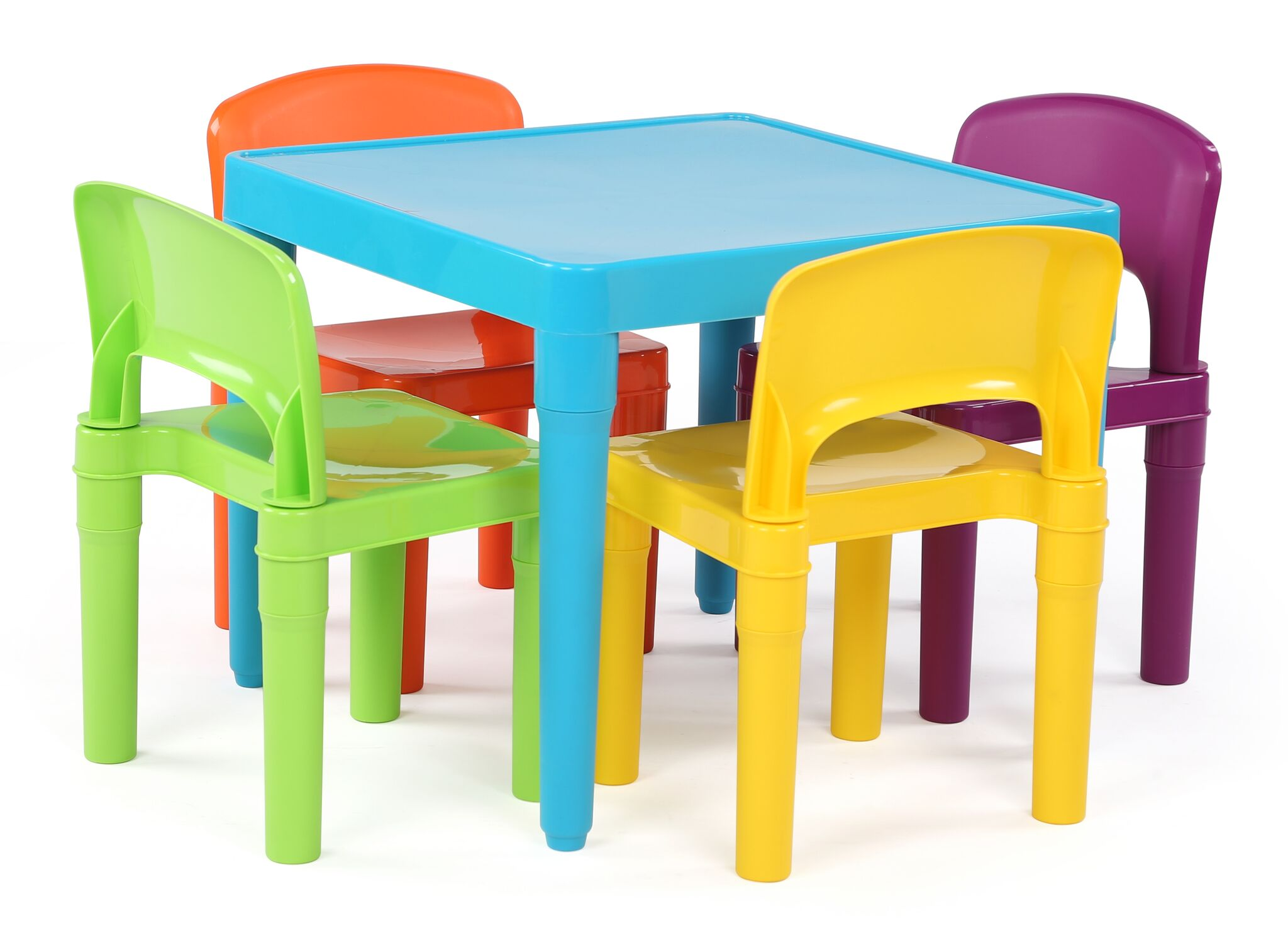 Playtime Kids Plastic Table And 4 Chairs Set, Aqua