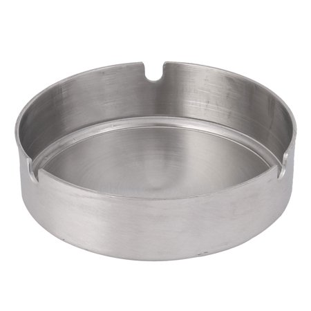 Outdoor Portable Metal Cylinder Designed Ashtray for Car, with 3 Grooves, Silver