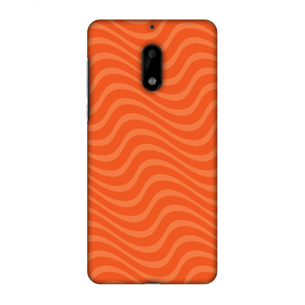 Nokia 6 Case, Premium Handcrafted Printed Designer Hard ShockProof Case Back Cover with Screen Cleaning Kit for Nokia 6 - Carbon Fibre Redux Tangy Orange 10