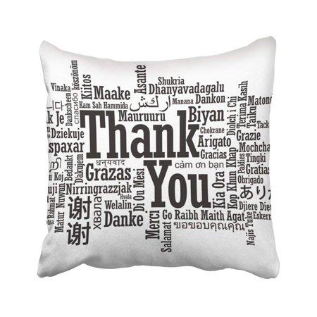 Chinese Thank You (WOPOP Language Thank You Word Cloud In Format Multi Chinese Korean Tag Japanese English Thai Pillowcase 18x18)