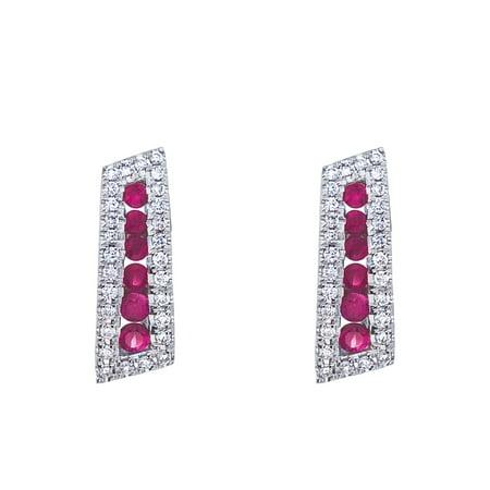 14k White Gold Ruby and Diamond Euro Back Earring 14k Ruby Diamond Earring