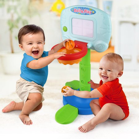 Basketball Hoop for Kids Toddlers, Infant 2 in 1 Sports Toy Set, with Light and Music Sound Effect, Baby Electronic Interactive Learning Toy, 18 Months Above, Battery