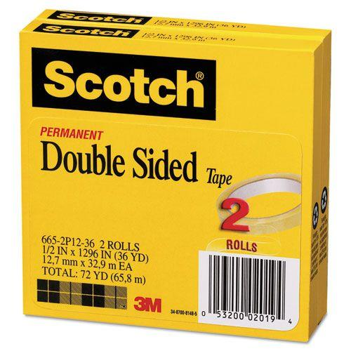 """665 Double-Sided Tape, 1/2"""" x 1296"""", 3"""" core, Transparent, 2 Rolls"""
