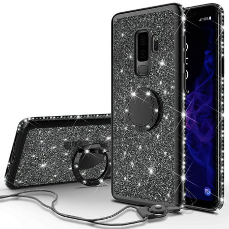 Galaxy S9 Case, Cute Glitter Ring Stand Phone Case with Kickstand, Bling Diamond Rhinestone Bumper Ring Stand Sparkly Luxury Clear Thin Soft Protective Samsung Galaxy S9 Case for Girls Women - Black - image 6 of 6