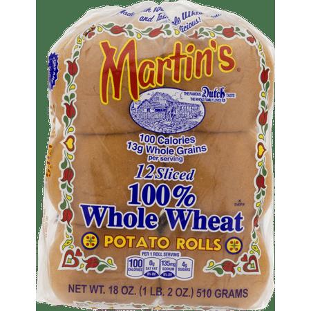 Martin's Sliced Potato Rolls 100% Whole Wheat- 12pk 18oz (4