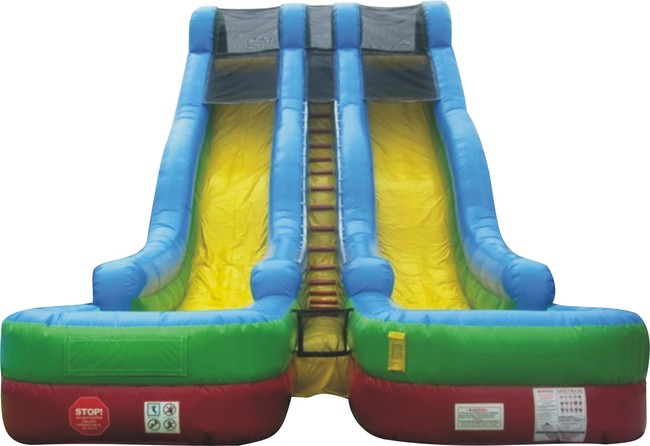 Pogo 24' Retro Commercial Kids Jumper Inflatable Double Lane Waterslide with Blower by Pogo Bounce House