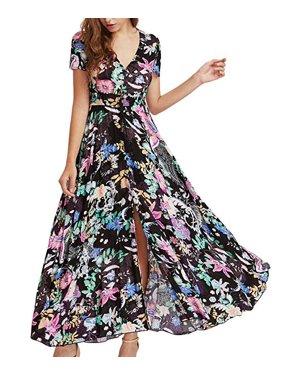 d73052fc1585f Product Image Women Vintage Floral Print Slit Dress V Neck Short Sleeve Maxi  Beach Dress Color:Black