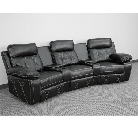 Brown Leather Theater - 3 Seat - image 2 de 5