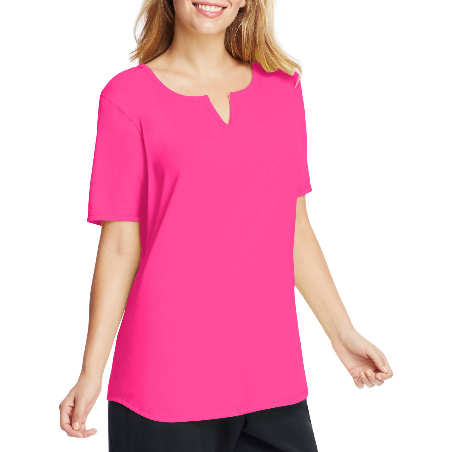 Just My Size Women's Plus-Size Solid Split-Neck Shirttail T-shirt