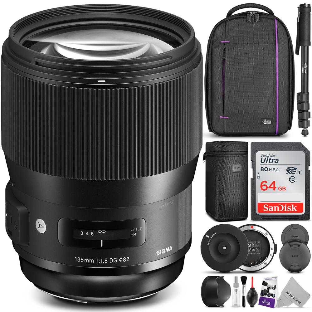 Sigma 135mm f/1.8 DG HSM Art Lens for NIKON F Cameras w/ Advanced Photo and Travel Bundle