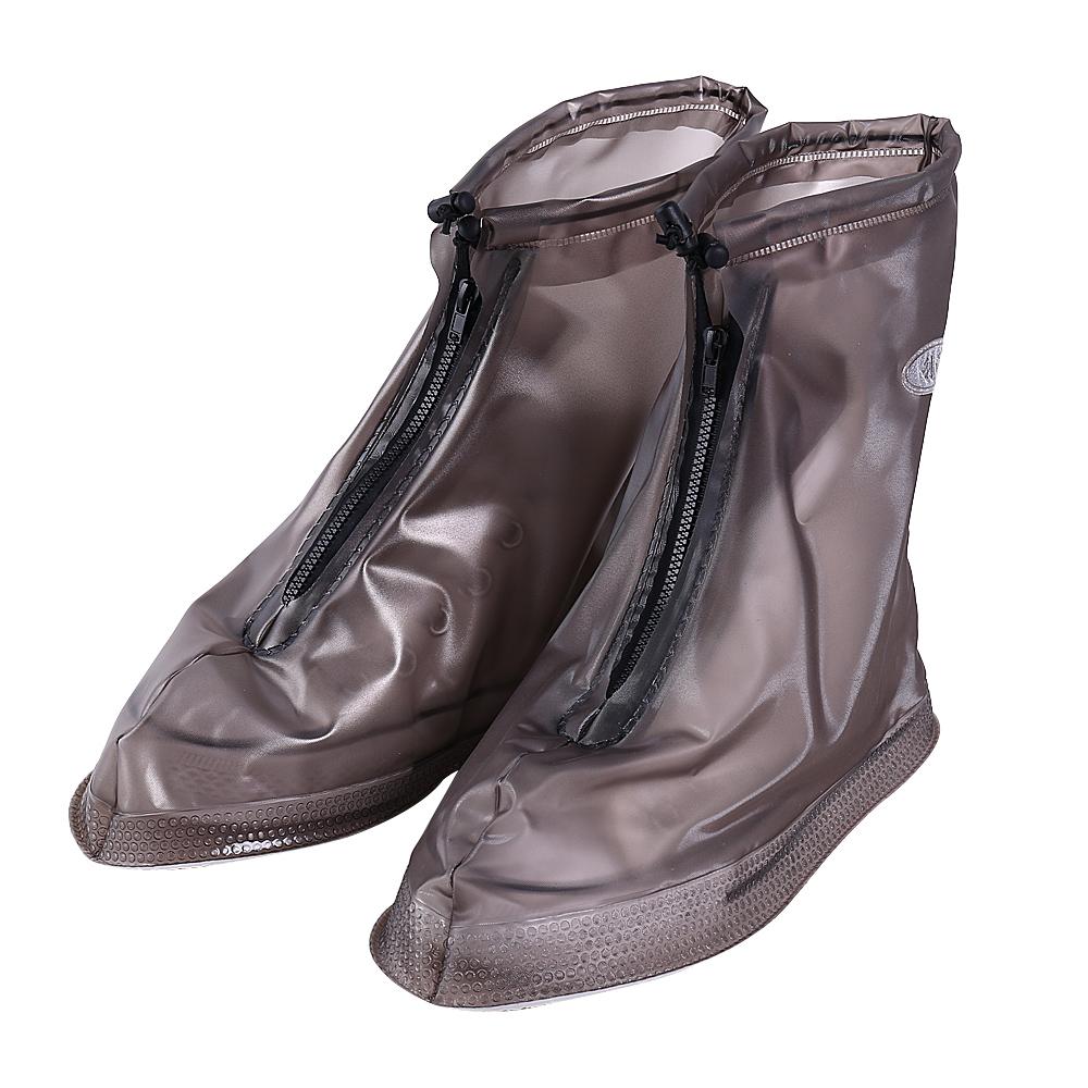 1 Pair Size L PVC Reusable Anti Slip Zipper Rain Boots Shoes Cover Guard Overshoes, White by
