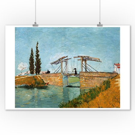 The Langlois Bridge - Masterpiece Classic - Artist: Vincent Van Gogh c. 1888 (9x12 Art Print, Wall Decor Travel Poster) (Vpn Bridge)