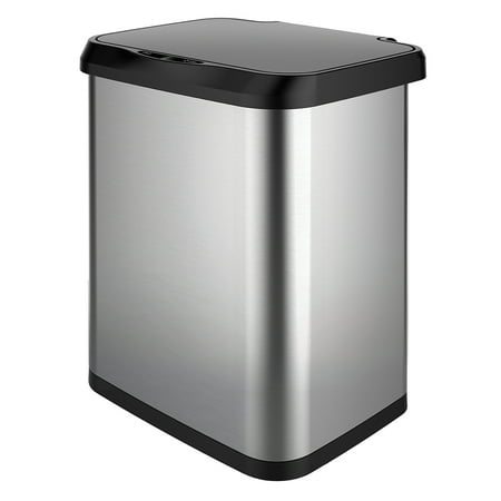 GLAD Stainless Steel Sensor Trash Can with Clorox Odor Protection of the Lid | Fits Glad Kitchen Pro 13 Gallon Waste Bags Trash Can Odor