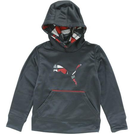 Puma Boy's Camp Printed Colorblock Coal Pullover Hoodie Sweatshirt Sz: