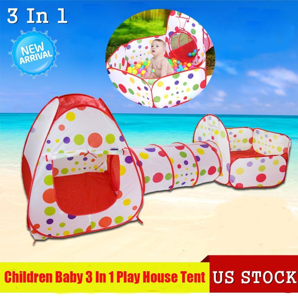 3 In 1 Kids Pop Up Play House Tents Tunnel And Ball Pit Playhouse Kids Gifts