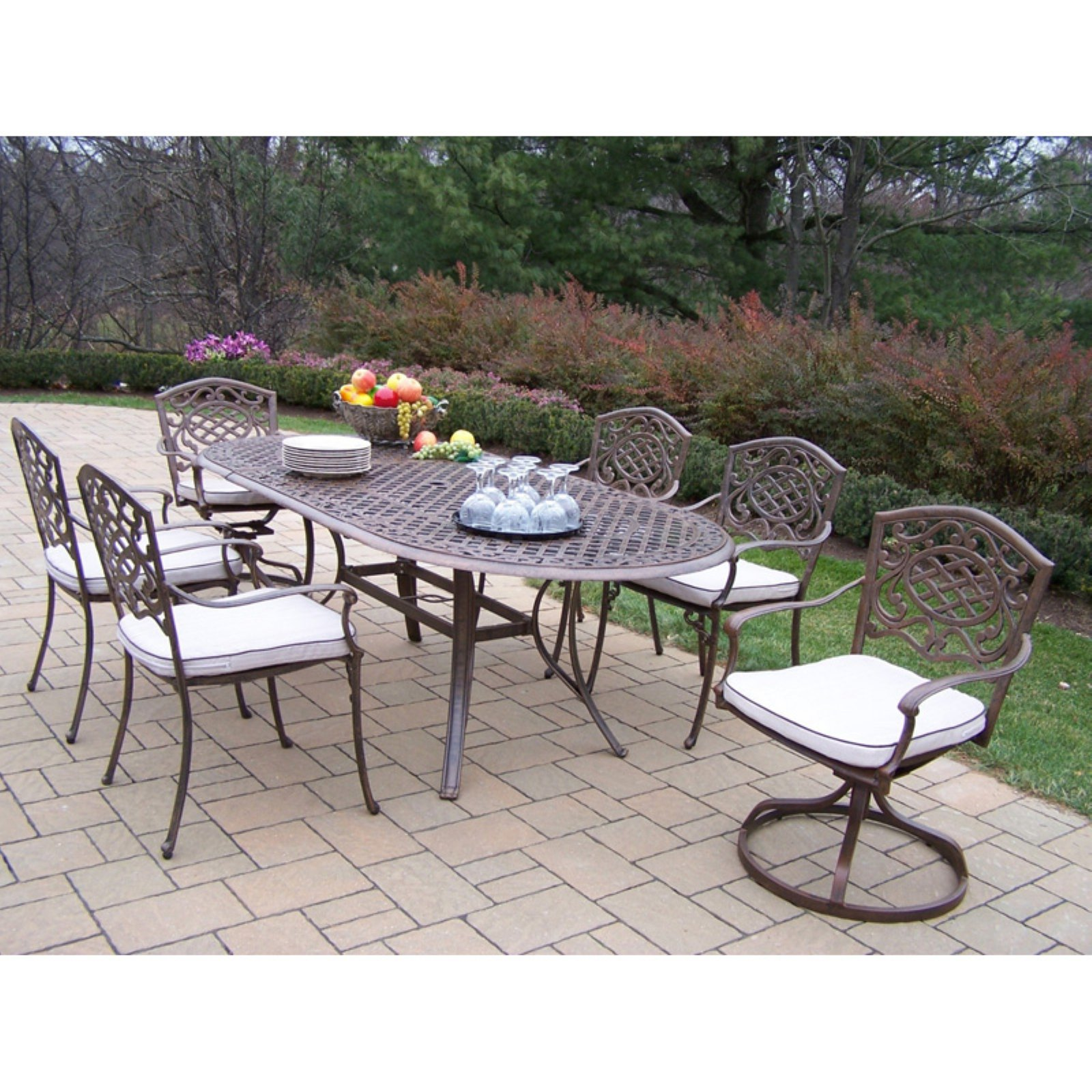Oakland Living Mississippi Cast Aluminum 82 x 42 in. Oval Patio Dining Room Set with Swivel Chairs Seats 6 by Oakland Living Corp