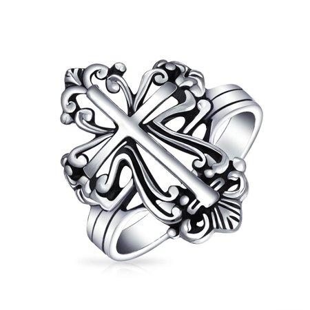 Vintage Style Christian Religious Fleur De Lis Cross Ring For Women For Men Oxidized 925 Sterling Silver Spinel Fleur De Lis
