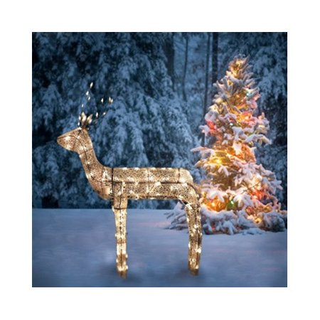 northlight seasonal 3 d glitter animated standing buck reindeer lighted christmas yard art decoration - Animated Lighted Reindeer Christmas Decoration