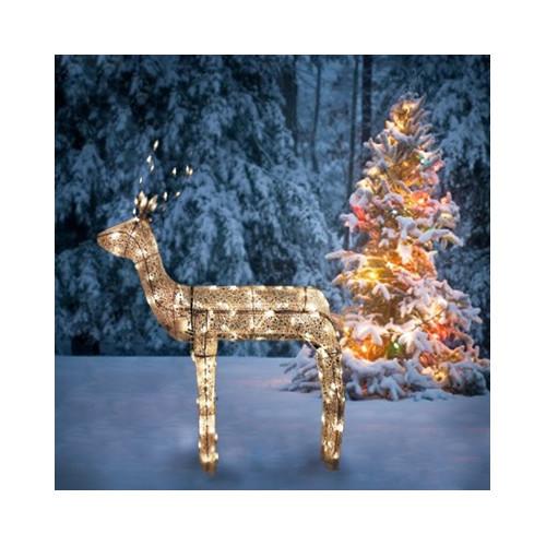 Northlight Seasonal 3-D Glitter Animated Standing Buck Reindeer Lighted Christmas Yard Art Decoration