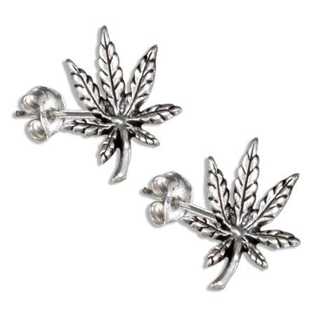 Sterling Silver Leaf Design Earrings - STERLING SILVER MARIJUANA POT LEAF EARRINGS ON STAINLESS STEEL POSTS AND NUTS