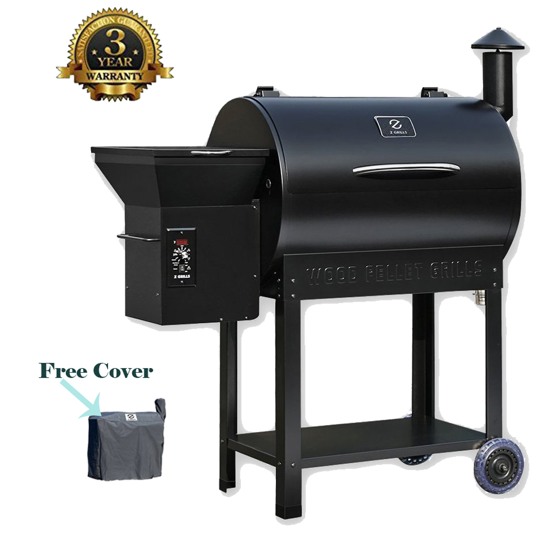 Z Grills Wood Pellet Grill & Smoker with Patio Cover, 7 in 1- Grill,700 Cooking Area, Roast, Sear, Bake,Smoke, Braise and BBQ with Electric Digital Controls for Outdoor