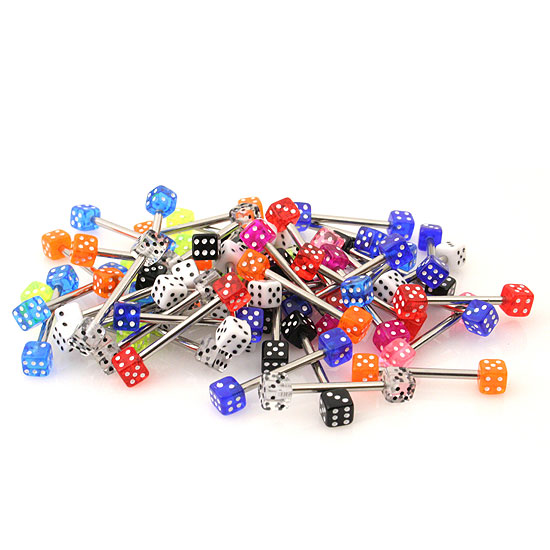 FunkyTownMall 14 Gauge - 1.6mm LOT of 50 Assorted Dice Barbell Tongue Jewelry, TNG-DICE