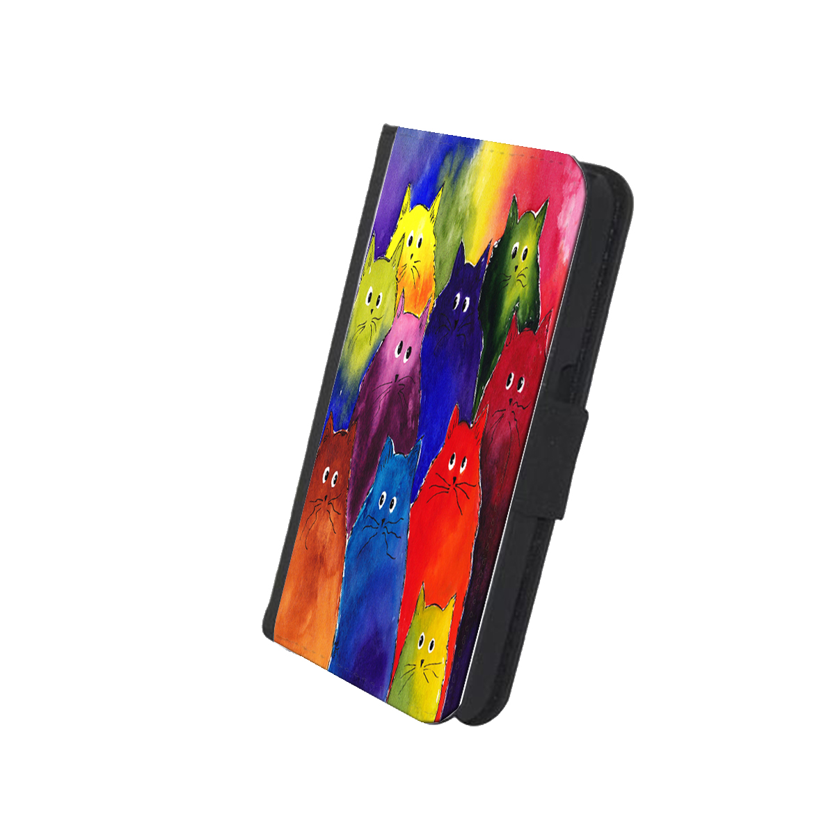 KuzmarK™ Samsung Galaxy S6 Wallet Case - Very Colorful Two-Toned Silly Maine Coon Kitties Rainbow Background Art by Denise Every
