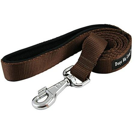 Dogs My Love 6ft Long Neoprene Padded Handle Nylon Leash 4 Sizes Brown (XLarge - 1