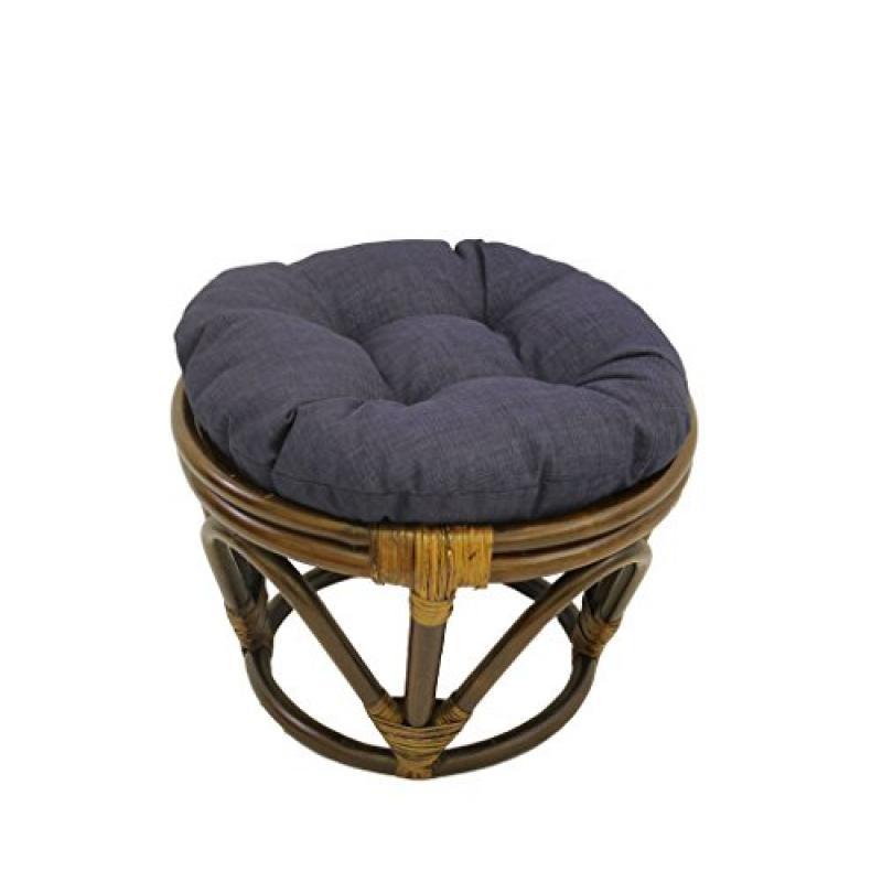 International Caravan 3301-REO-S05-IC Furniture Piece Rattan Ottoman with Outdoor Fabric Cushion