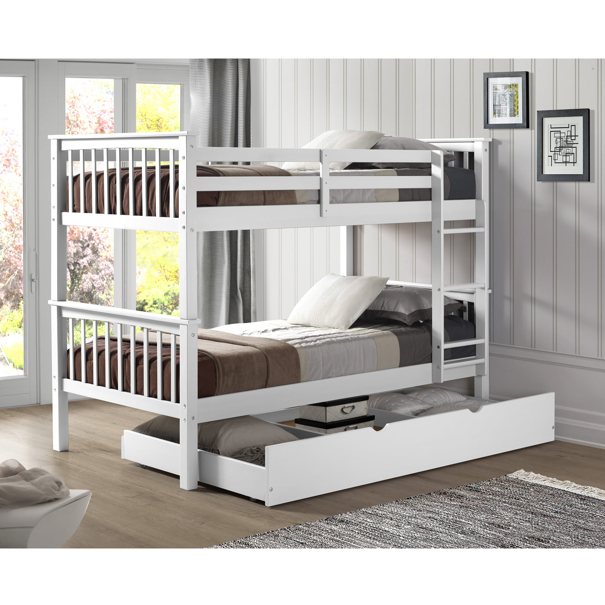 Manor Park Solid Wood Twin Bunk Bed With Trundle Bed