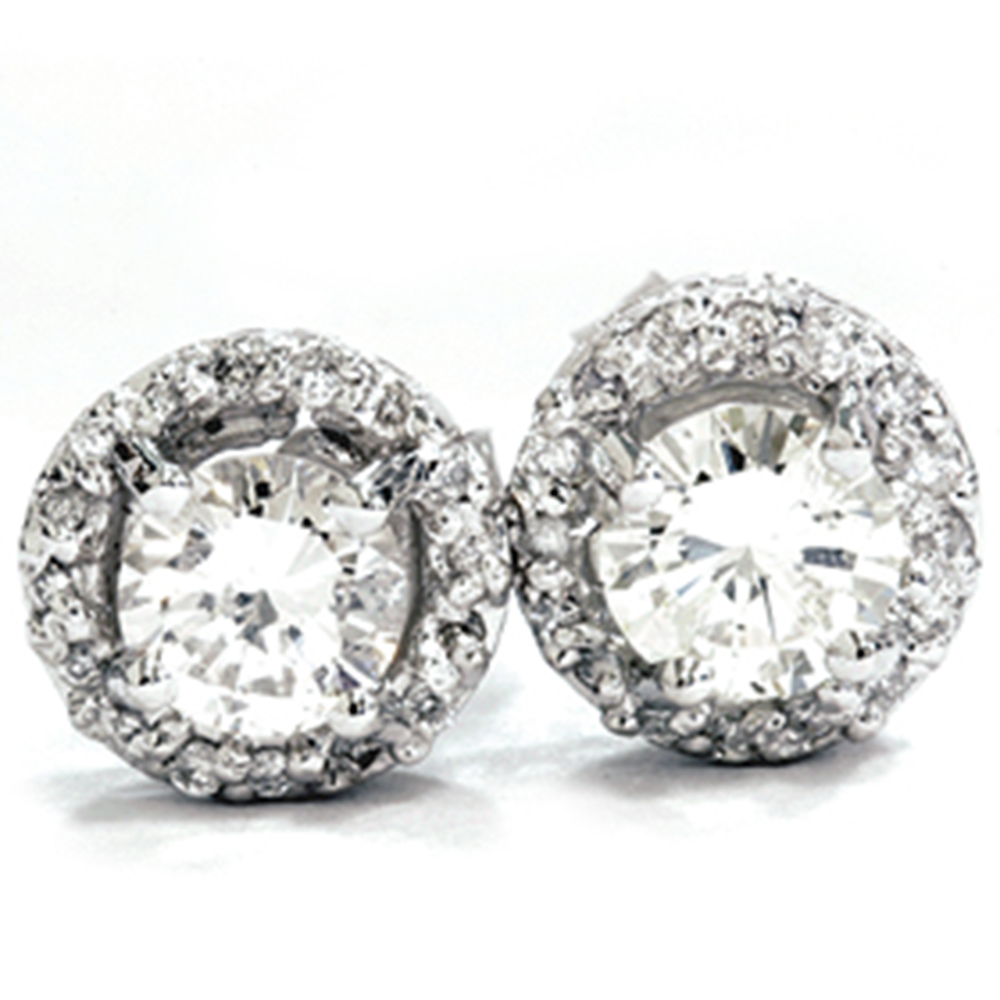 3/4ct Round Pave Halo REAL Diamond Studs 14K White Gold Womens Vintage Earrings