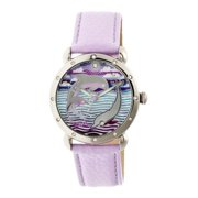 Estella Mop Leather-Band Ladies Watch - Silver/Lavender