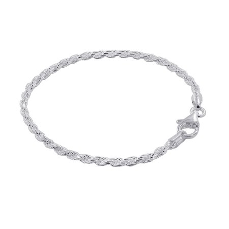 Gem Avenue 925 Plain Sterling Silver 2.5mm wide Faceted Cut Rope Chain 7, 8, 9 Inch Bracelet