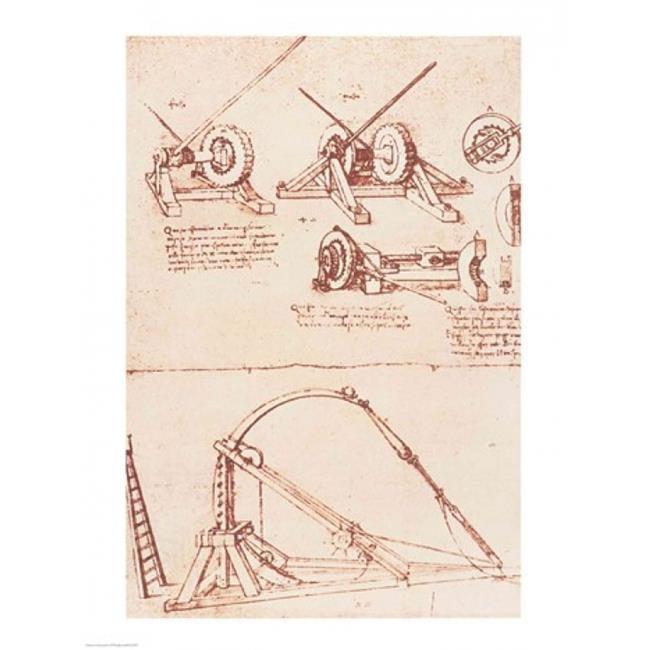 Designs for A Catapult Poster Print by Leonardo Da Vinci - 18 x 24 in. - image 1 de 1