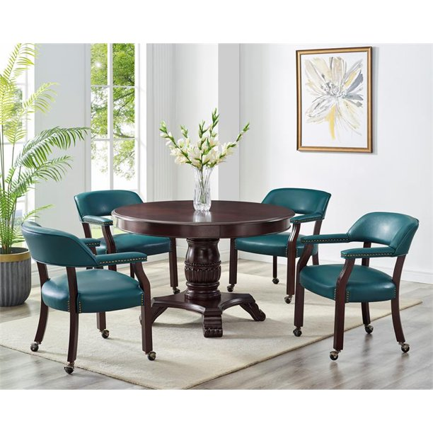 Bowery Hill Teal Arm Chair With Casters, Padded Dining Room Chairs With Casters