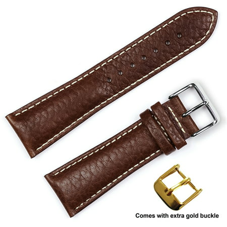 deBeer brand Sport Leather Watch Band (Silver & Gold Buckle) - Brown 24mm
