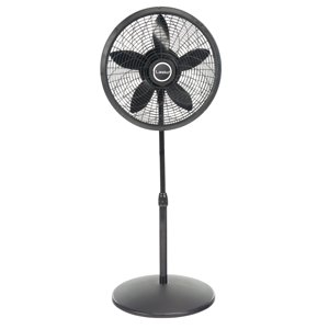 "Lasko 18"" Elegance & Performance Pedestal 3-Speed Fan, Model #1827, Black"