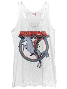 ae00898afa5 Product Image Marvel Women's Deadpool Rides Unicorn Racerback Tank Top