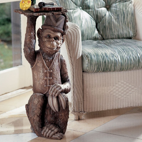 Design Toscano Moroccan Monkey Butler Sculptural End Table