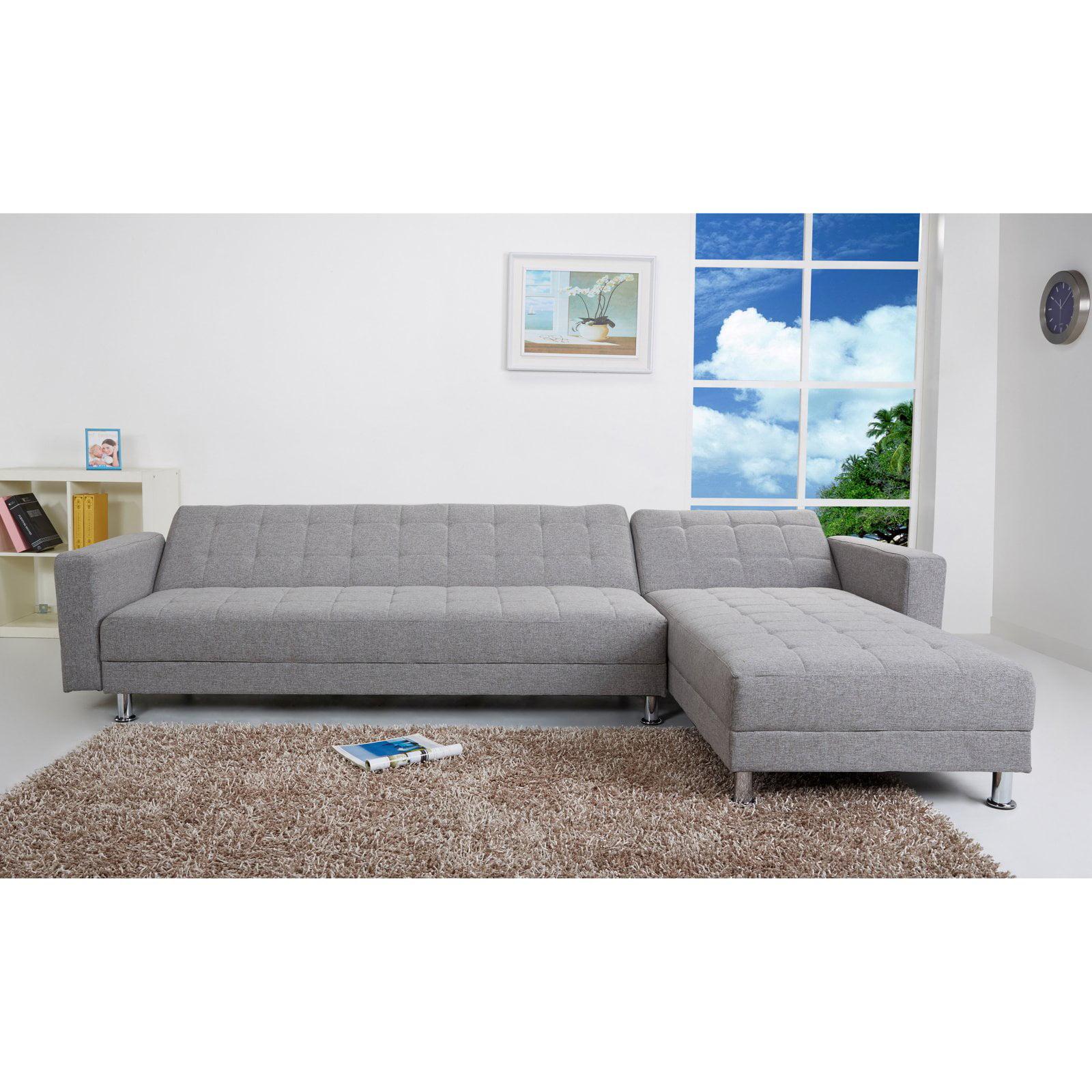 Gold Sparrow Frankfort Fabric Convertible Sectional Sofa Walmart Com
