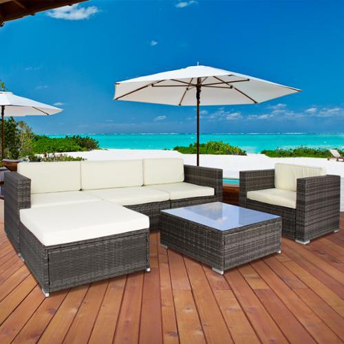 6PC Outdoor Patio Garden Wicker Furniture Rattan Sofa Set Sectional Grey