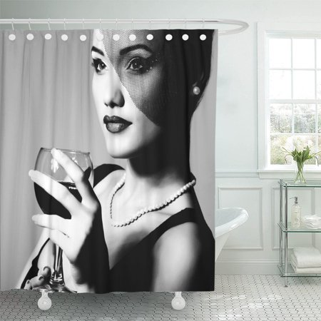 Young White Wine (KSADK People Portrait of Beautiful Young Woman with Wine Glass Black and White Retro Stylization Girl Shower Curtain Bathroom Curtain 60x72 inch )