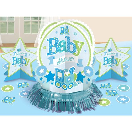 Baby shower welcome little one boy table decorating kit for Baby boy shower decoration kits