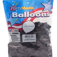 """Pioneer 72 Pitch Black Latex Balloons 11"""" Made In USA."""