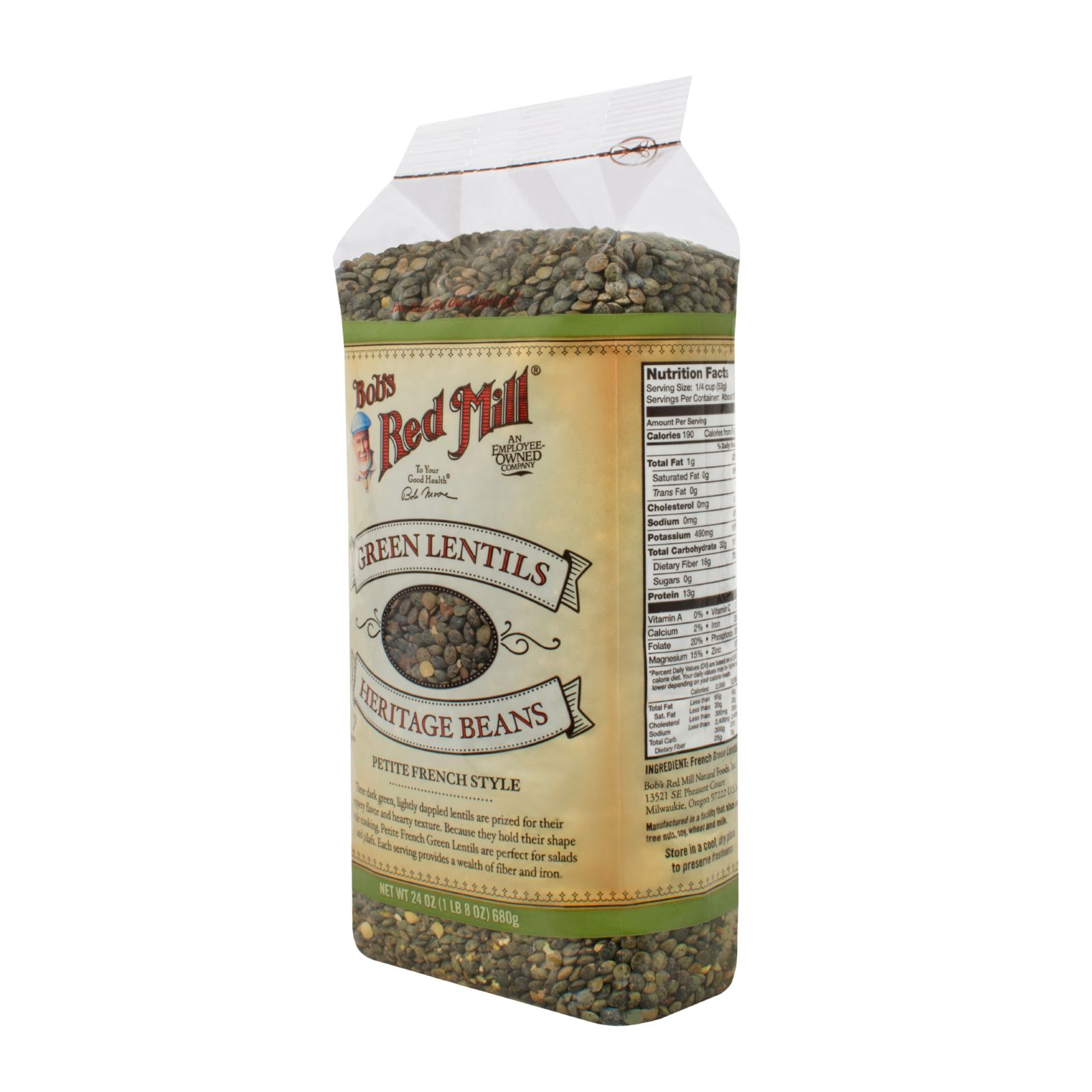 Bob's Red Mill Petite French Green Lentils 24 oz Case of 4 by
