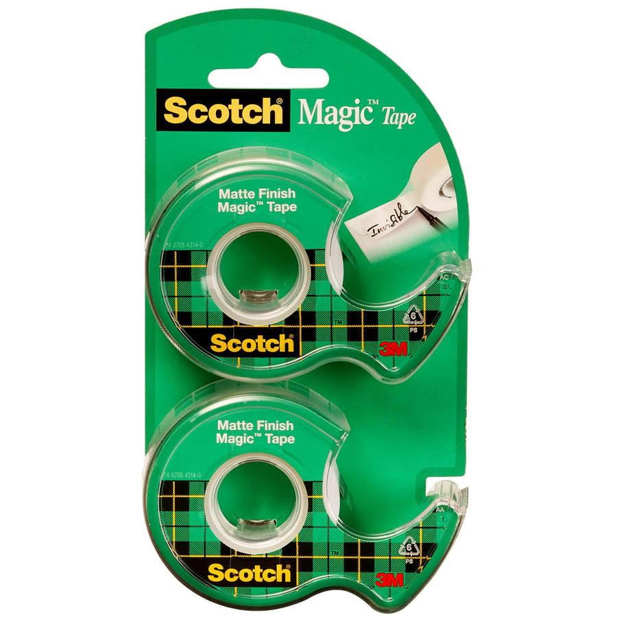 Scotch Magic Tape Dispenser 2 Pack , 3/4 in. x 600 in., 2 Dispensers per Pack