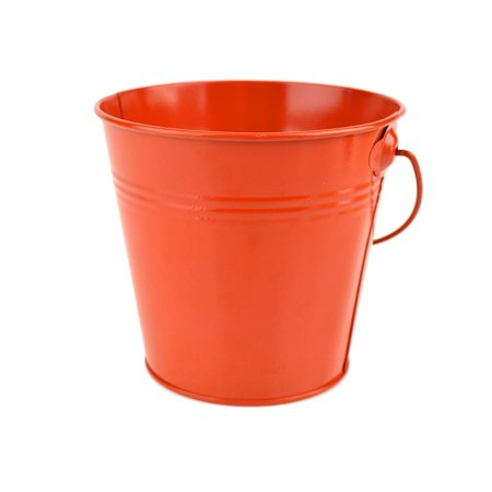 Metal Pail Bucket Party Favor, Vermilion Orange, 5-Inch - Great for Spooky Halloween! (Halloween Pails Wholesale)